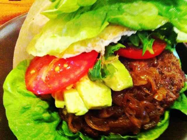 roam burger with grass fed beef