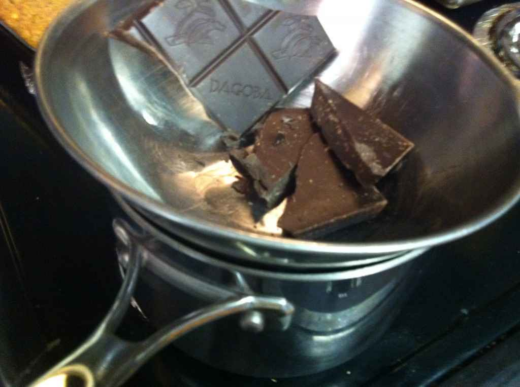 melting the dark chocolate in the double boiler