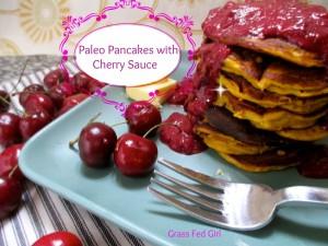 Paleo Pumpkin Pancakes with Cherry Sauce (grain free, gluten free, Gaps, SCD)