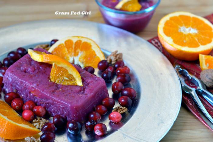 Cranberry Orange Gelatin with Walnuts