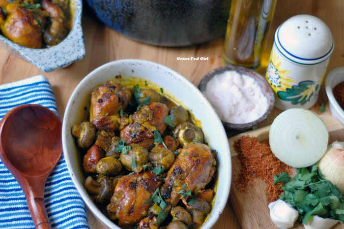 Paleo Chicken Mushroom Tajine with Saffron and Truffle Oil