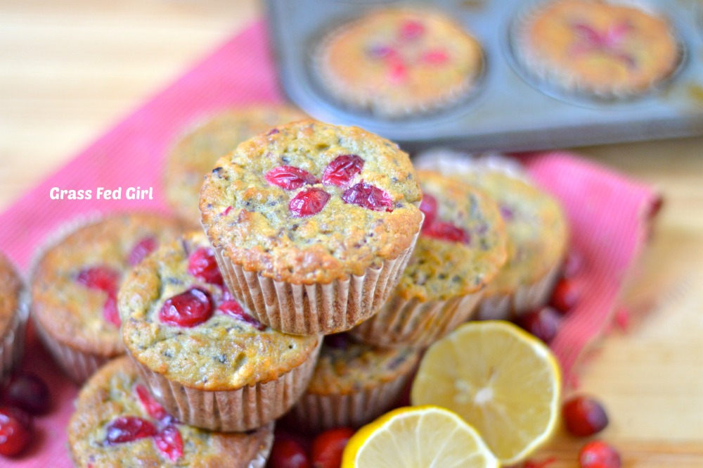 Grain and Dairy Free Lemon Cranberry Muffins | Grass Fed Girl