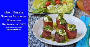 Paleo Appetizer: Goat Cheese Stuffed Artichoke Hearts with Beef Bresaola and Pesto Sauce