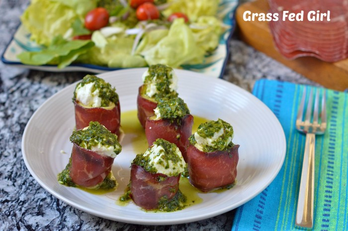 Goat Cheese Stuffed Artichoke Hearts with Beef Bresaola and Pesto Sauce