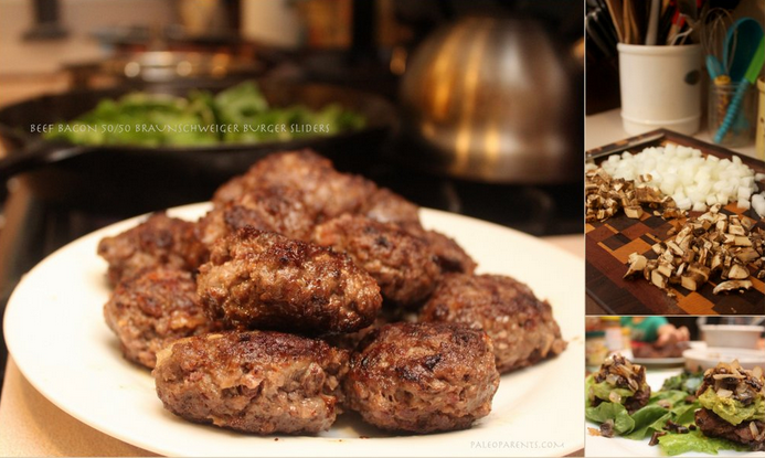 Beef Bacon 50.50 Braunschweiger Burger Sliders