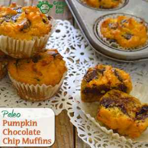 Paleo, Low Carb and Keto Pumpkin Bread Muffins with Chocolate Chips