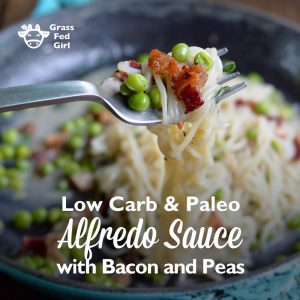 Alfredo Sauce Recipe with Peas and Bacon (Paleo, low carb, Keto)