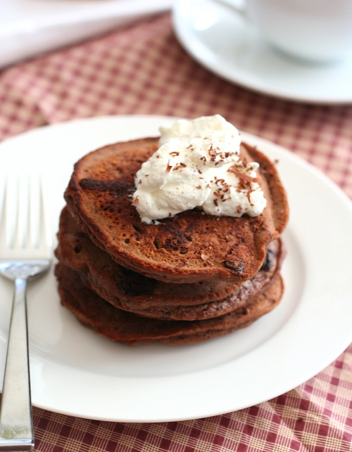chocolate chocolate chip low carb pancakes
