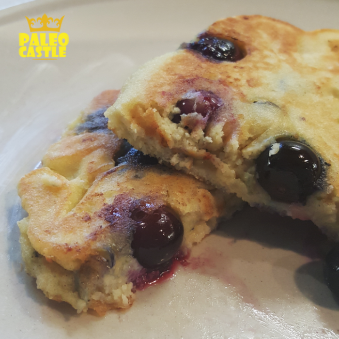 Paleo keto blueberry low carb pancakes