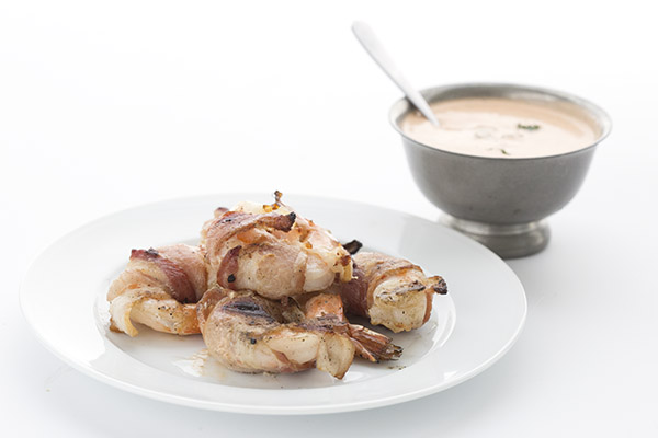 Keto BBQ Recipes for Bacon Wrapped Grilled Shrimp with Buffalo Dipping Sauce
