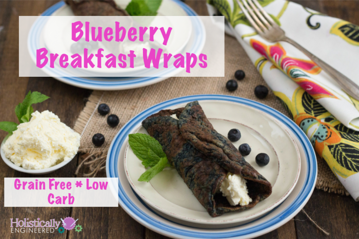 low carb blueberry breakfast wraps