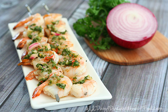 Grilled Chimmichurri Shrimp