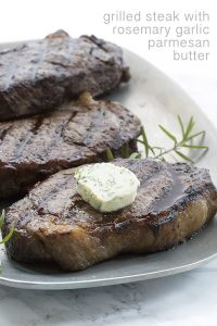 Keto Recipe for Grilled Steak with rosemary garlic parmesan butter