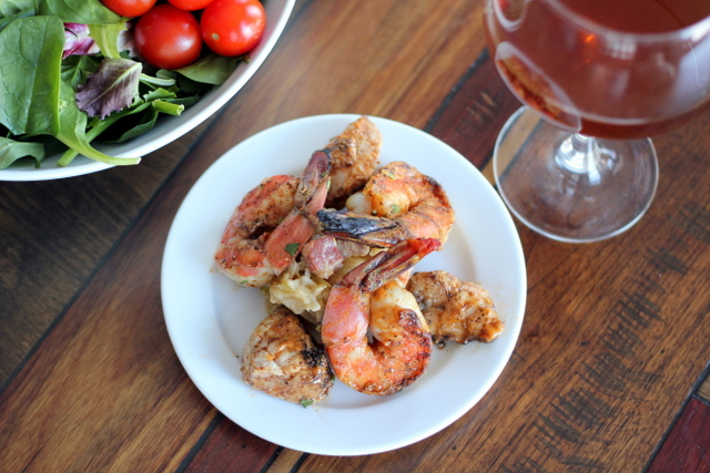 keto BBQ recipes for grilled shrimp and sweetbread with bacon dressing