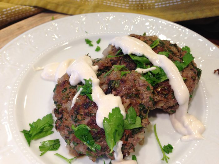 Keto BBQ Recipe for Bison Patties and raw tahini sauce