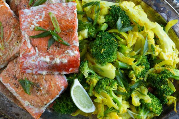 Keto Salmon and Creamy Turmeric Veggie