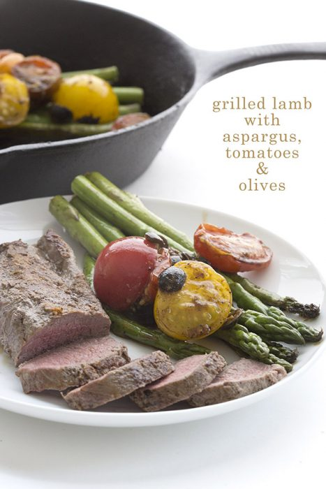 Keto BBQ Recipes for Grilled Lamb with Asparagus, Tomatoes and Olives