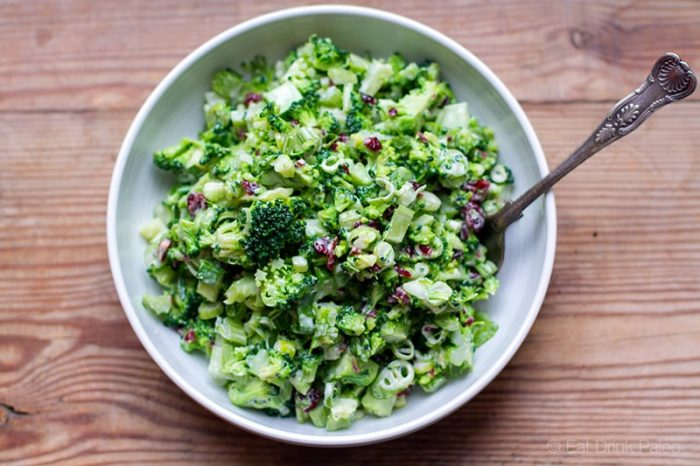 Broccoli slaw salad with cranberries and celery