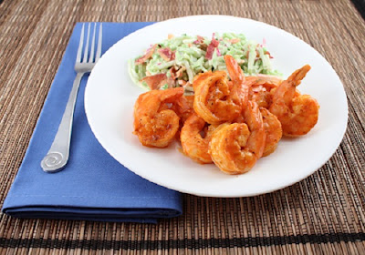 keto bbq recipe for grilled buffalo shrimp with broccoli slaw
