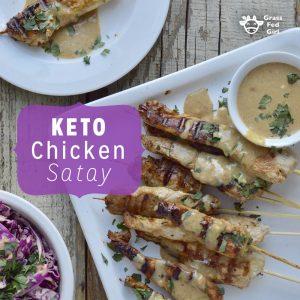 Keto Chicken Satay Skewers with Peanut Sauce