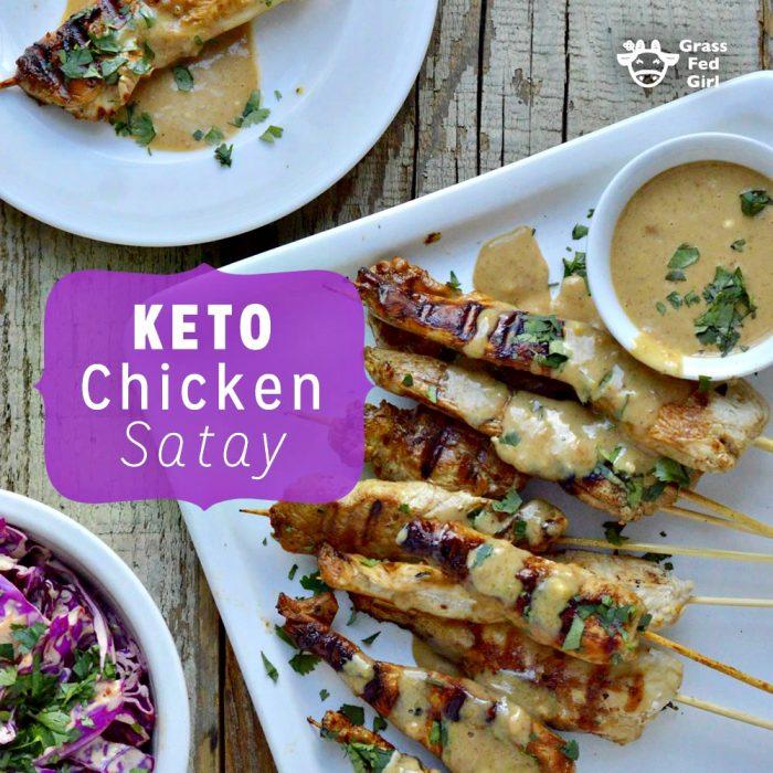 Keto Chicken Satay Skewers