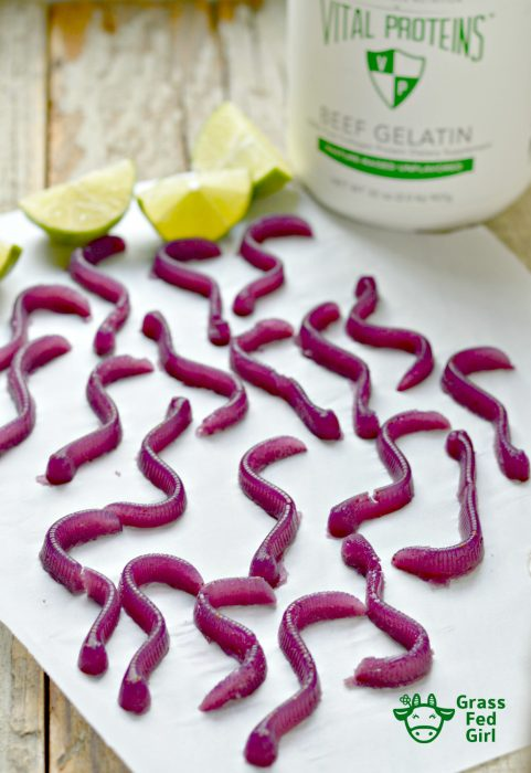 Keto Blueberry Lime Gummy Worms Recipe